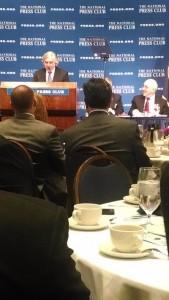 U.S. Department of Energy Secretary Ernest Moniz speaks at the National Press Club.