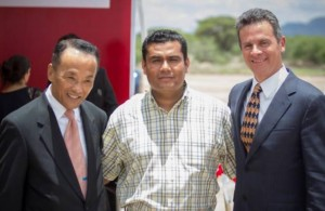 Glass company representative Kei Yonamoto (left)  for the Americas, Mayor of Villa de Reyes (center) and Alberto Trevino (right), general manager of the North America Division and Automotive General Division for the glass company.