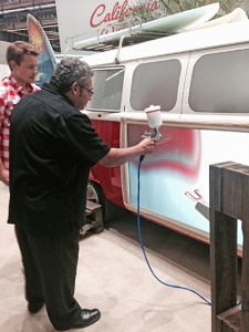 Gilbert Gutierrez of Equalizer works on his painting skills during Automechanika Frankfurt.