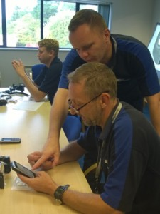 Technical trainer Darren Boden teaches technicians to use the new devices.