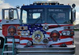 Ron Neely, a retired Nashville firefighter with 24 years of service, purchased and restored a Patriot Guard Stuphen fire engine in honor of the fallen in September 11, 2001.