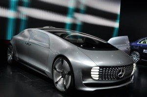The Mercedes-Benz F 015 Luxury in Motion driverless vehicle at the Detroit Auto Show.