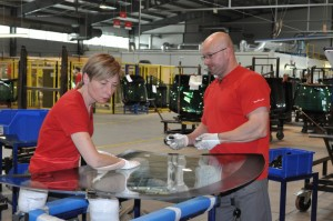 Two NordGlass team members inside one of the company's fabrication plants.