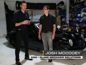 DriveClean host Larry Kosilla (left) introduces Josh McCooey, COO of Glass Mechanix Solutions.