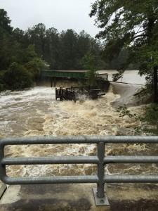 Pond Park dam breaks in South Carolina. Photo courtesy of Mary Anne Jones.