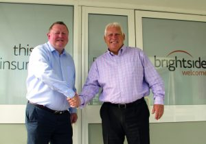 Left to right: Mark Cliff, Brightside executive chairman, and Martyn Bennett, regional director for National Windscreens.