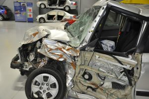 This vehicle was damaged by a real world crash. It is on display at IIHS.