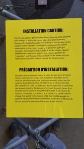 This notice is placed on windshields of new models equipped with EyeSight