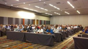 Bill George's presentation on calibration solutions drew a large crowd.