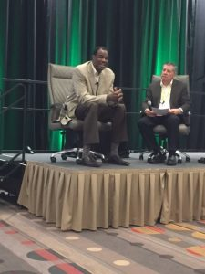 Former NBA All-Star David Robinson (left) spoke to attendees on all things basketball and business. David Rohlfing (right) of Club Assist North America moderated the session.
